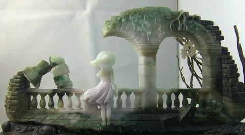 翡翠雕刻大师把翡翠废料雕刻成几百万成品的作品